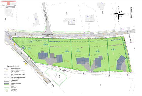 5 terrains plats libres de constructeurs de 1.372m² à 1.564m²